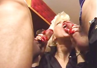 Horny mother double penetrated by two friends on