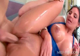 oily bound up milf pussy fucked hard from behind