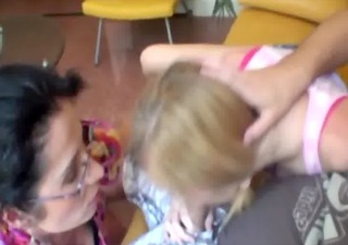 Teen and milf both work together on sucking cock
